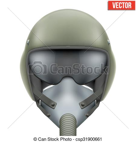 Clip Art Vector of Military flight fighter pilot helmet. Vector.