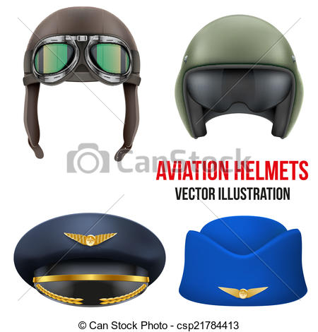 Vector Clipart of Retro aviator pilot helmet with goggles.