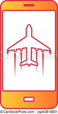 Vector Clipart of Cellular phone with flight mode sign on screen.