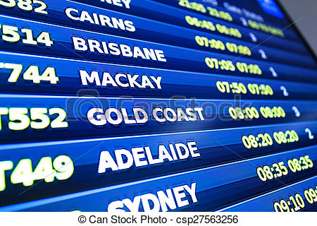Stock Images of flight information display screen board.