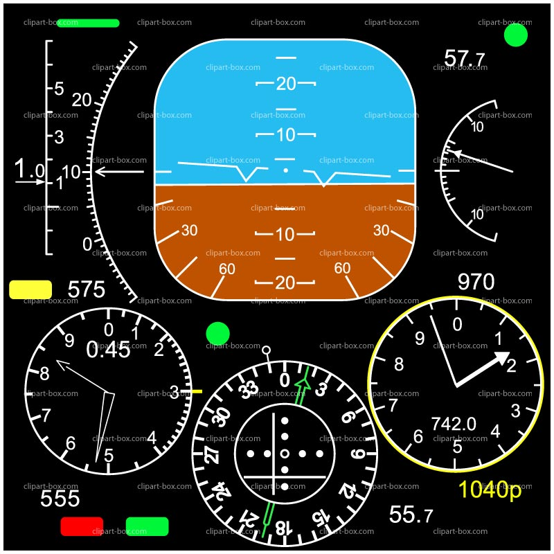 CLIPART PLANE FLIGHT INSTRUMENT.