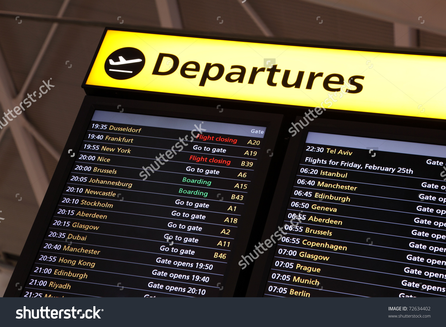 Airport Flight Information On Large Screen Stock Photo 72634402.