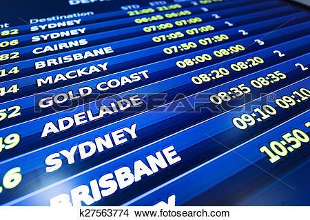 Stock Photo of flight information display screen board k27563774.