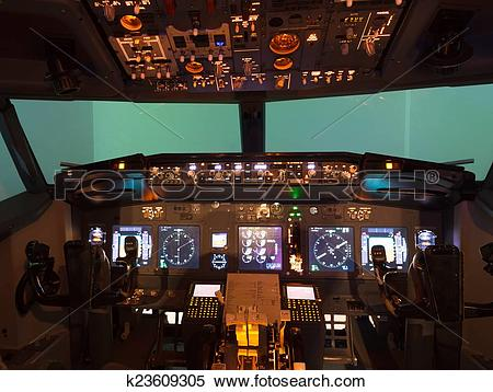 Stock Image of inside of homemade flight simulator cockpit.