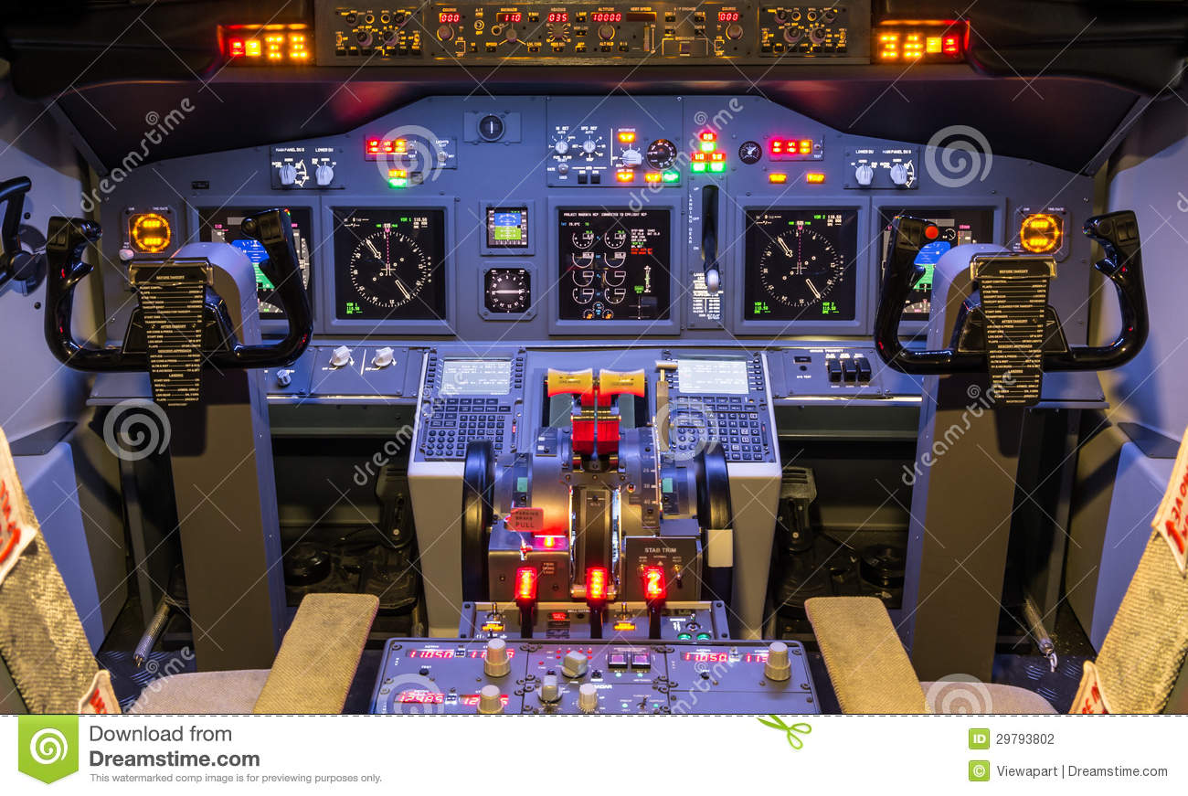 Cockpit Of An Homemade Flight Simulator.