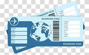 Flight Airplane Airline ticket Boarding pass, air ticket transparent.