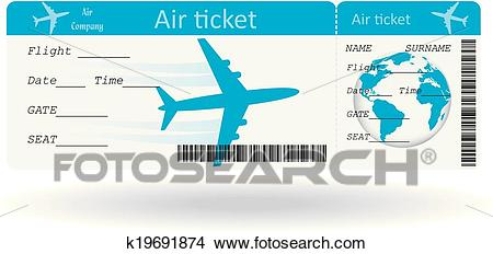 Variant of air ticket Clipart.