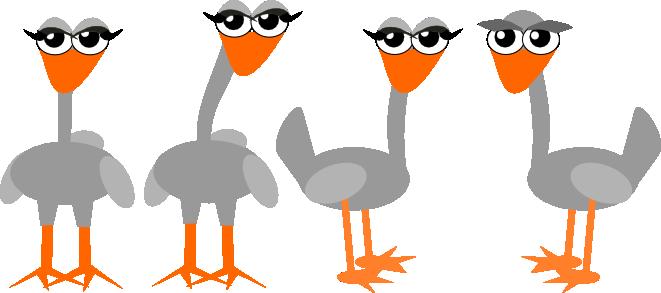 free digital funny grey bird scrapbooking embellishment and border.