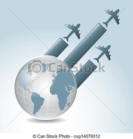Vector Clip Art of global flights over gray background vector.