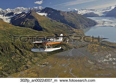 Stock Photo of Turbo Beaver flight seeing over Colony Glacier.