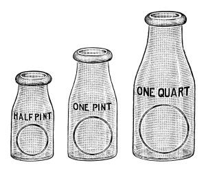 flint glass milk bottle image, vintage dairy clipart, black and.