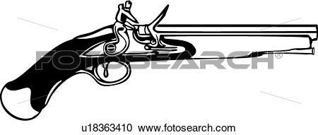 Clipart of , gun, flintlock pistol, weapon, u18363410.