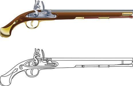 antique flintlock pistol Clipart Image.