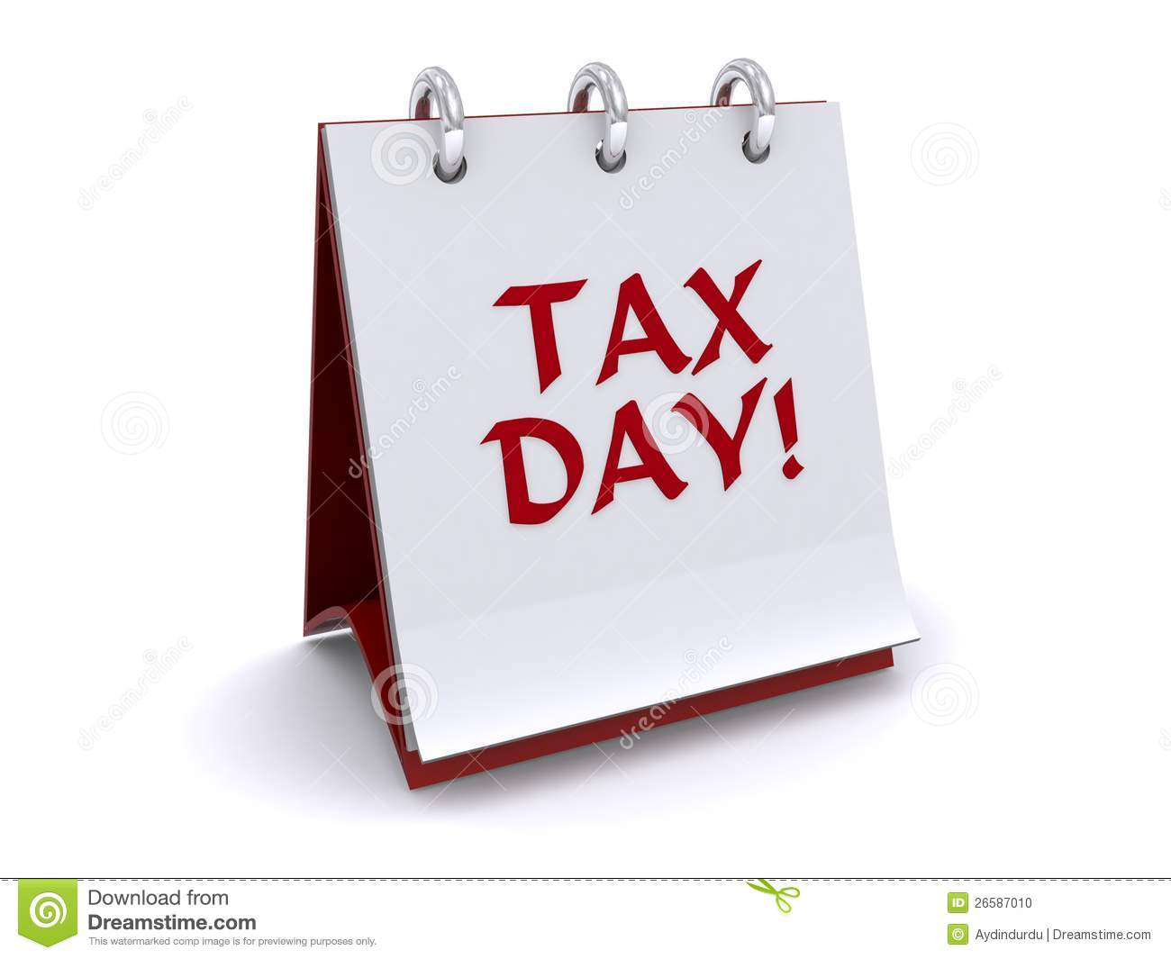 Tax Day Flip Book Stock Photo.