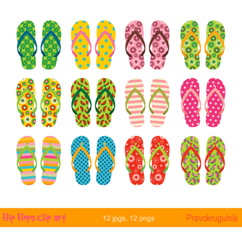Colorful flip flops clipart, Cute summer beach sandals, Poop party clip art.