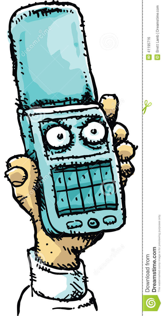 Angry Mobile Flip Phone Stock Illustration.