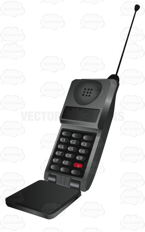 Flip Phone With Long Antennae Cartoon Clipart.