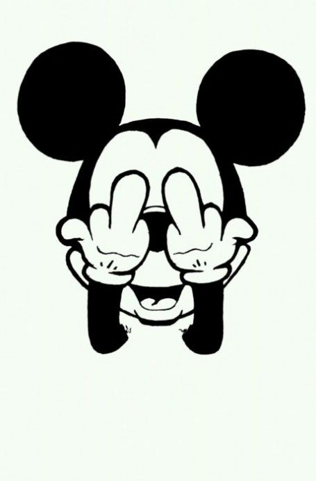 Mickey Mouse Flipping The Bird.