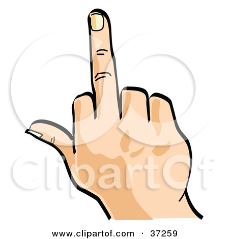 Clipart Illustration of a Hand Flipping The Bird by Andy Nortnik.
