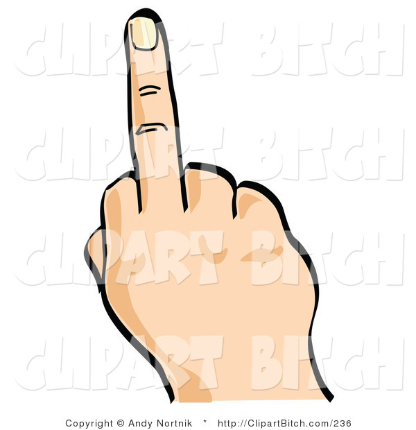 Clip Vector Art of an Angry Person's Hand Flipping the Bird by.