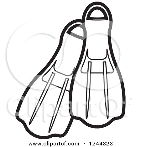 Clipart of Black and White Swim Fins.