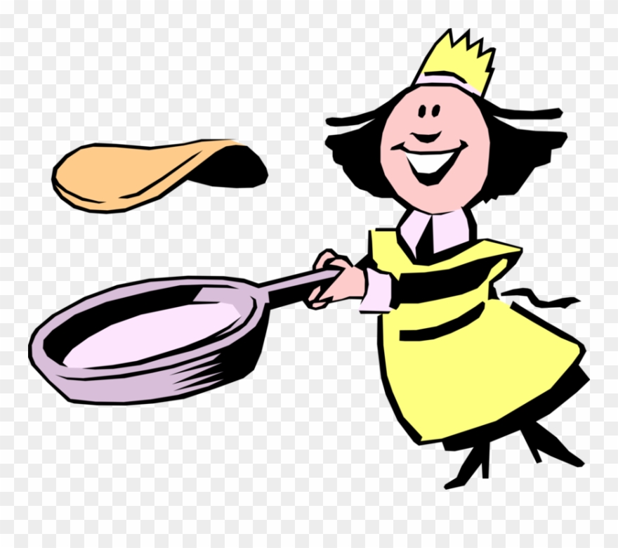Vector Illustration Of Female Chef Flips Pancake Or.