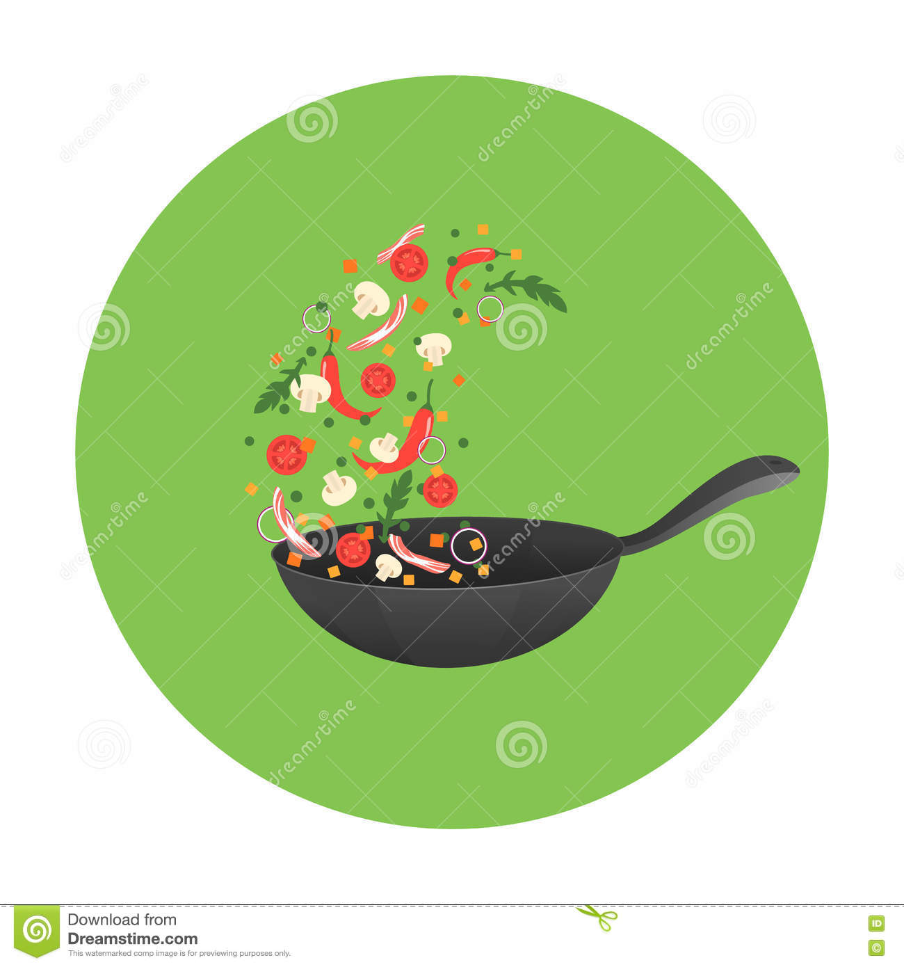 Cooking Process Illustration. Flipping Asian Food In A Pan. Stock.