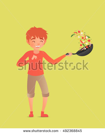 Flipping Food In A Pan Clipart.