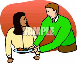 Women flirt with man clipart.