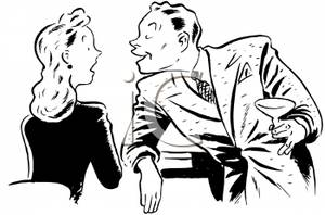 Girl flirting with a guy clipart.