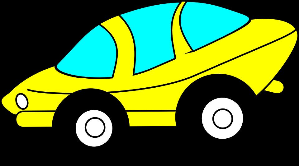 Free vector graphic: Car, Driving, Yellow, Futuristic.