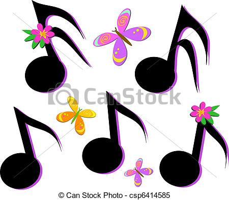 Clipart Vector of Musical Notes, Butterflies, and Flo.