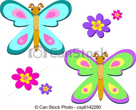 Vector Clipart of Mix of Colorful Butterflies and Flo.