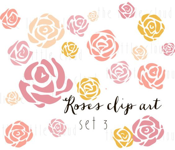 20 ROSES Flower Clip Art vector and png.