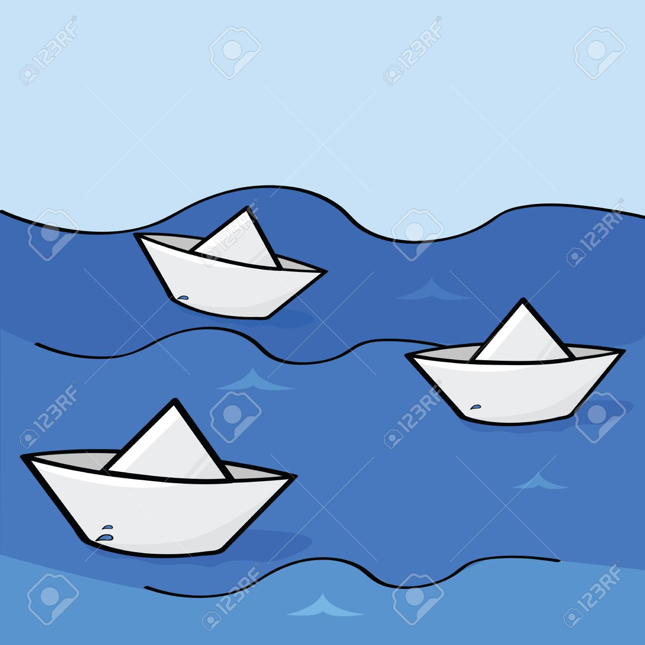 Cartoon Illustration Of Three Paper Boats Floating Down The Water.