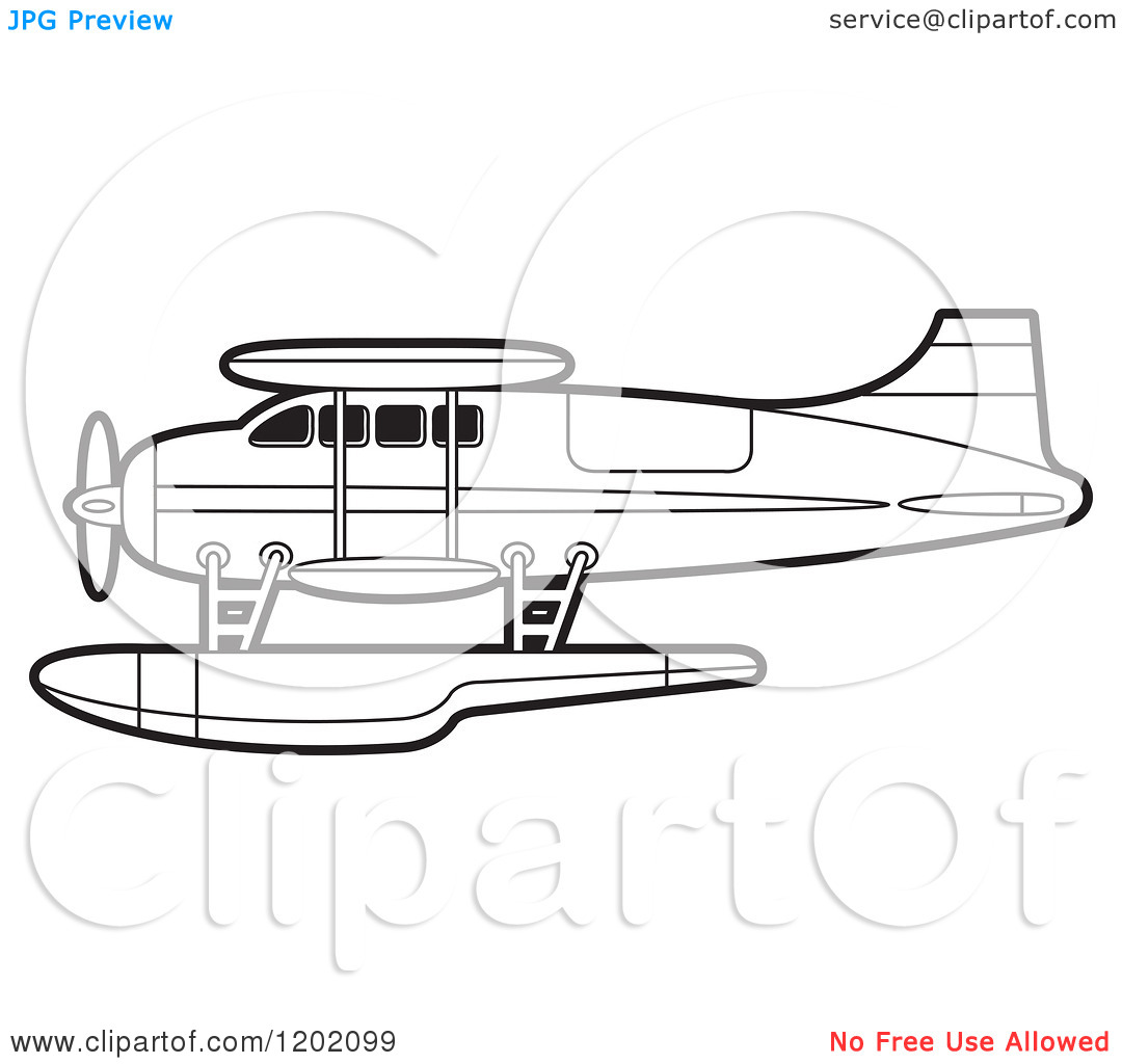 Clipart of a Small Outlined Seaplane.