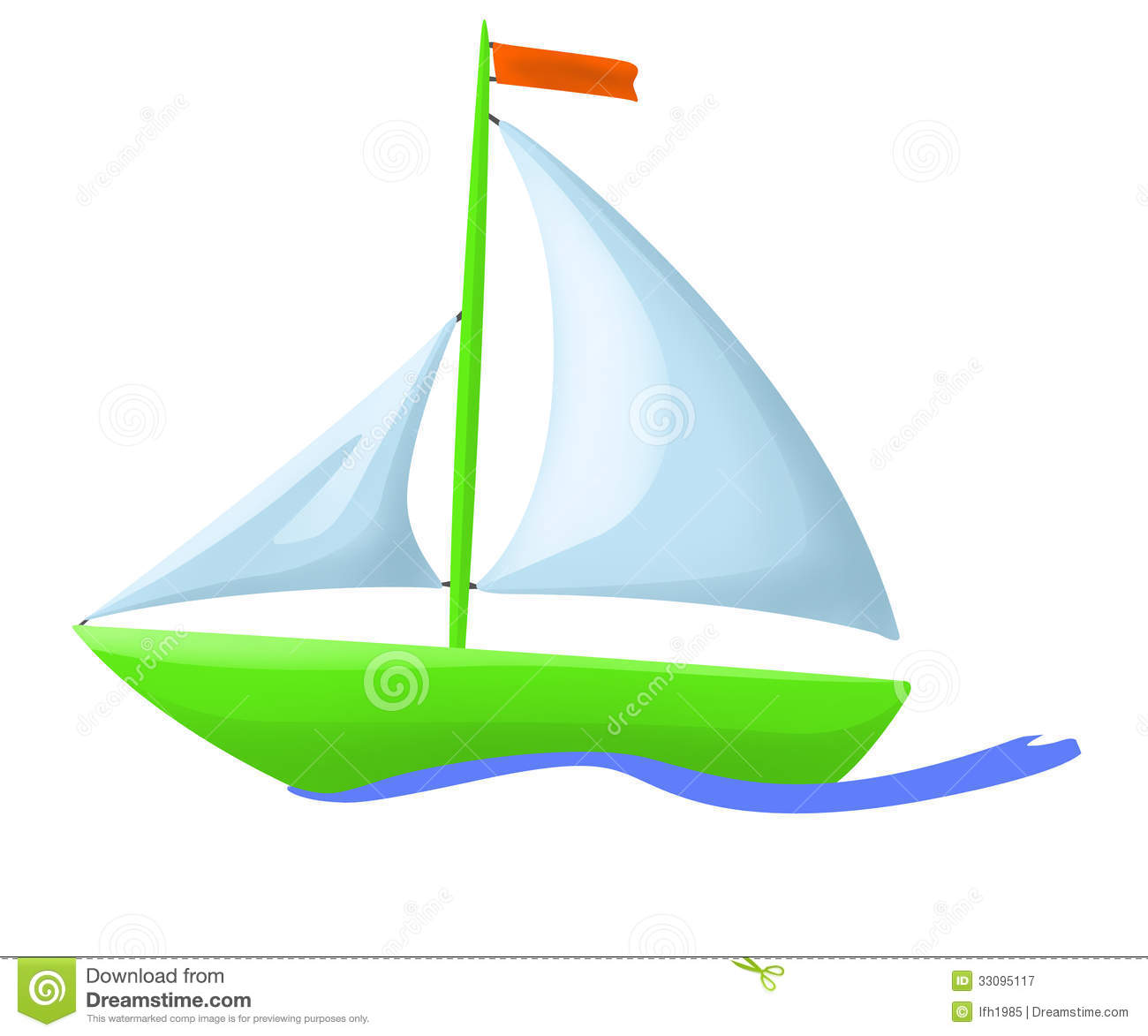 Illustration Of Green Floating Boat Royalty Free Stock Photography.