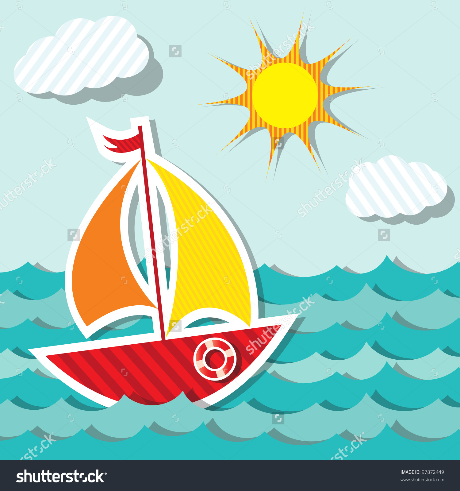 Vector Sailing Boat Sticker Floating On Stock Vector 97872449.