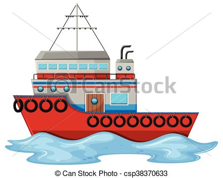 Vectors of Fishing boat floating on water illustration csp38370633.