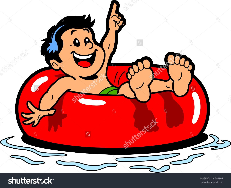 Water intertubing behind boat cartoon clipart.
