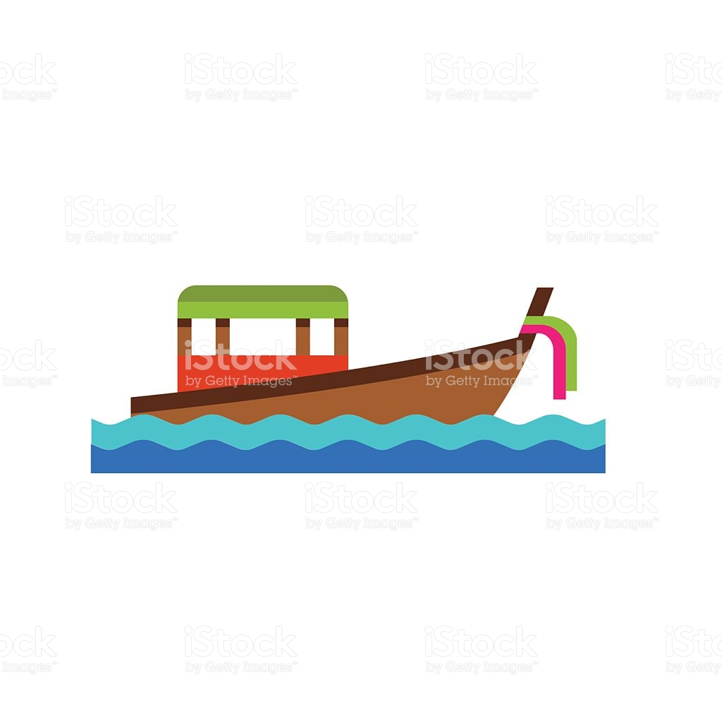 Thai Boat Floating On Waves Icon stock vector art 639323770.