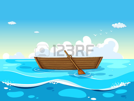 Illustration Of A Boat Floating On The Sea Royalty Free Cliparts.