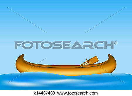 Clipart of Wooden canoe floating on water k14437430.