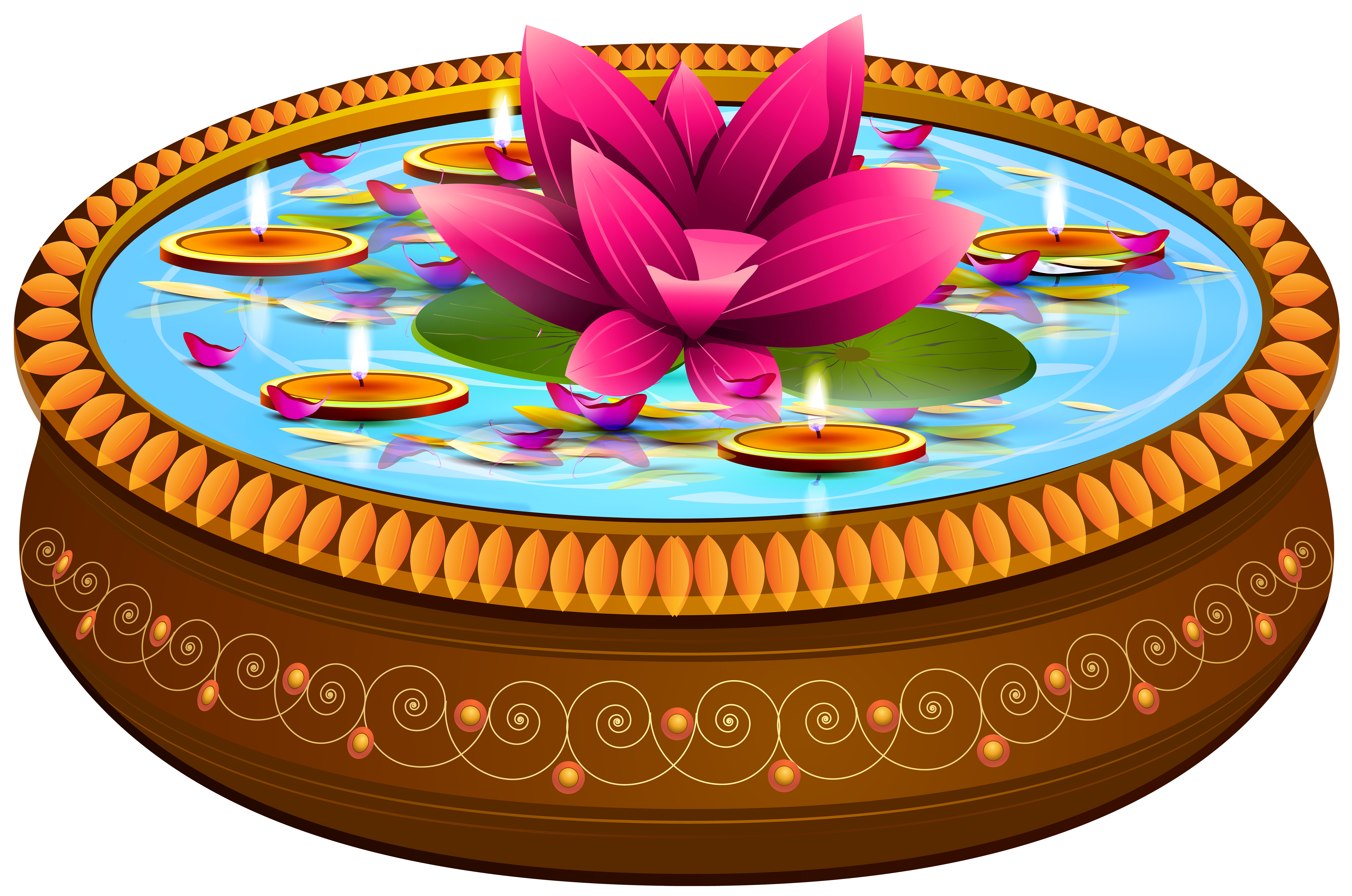 Indian Floating Candles and Lotus Transparent Clip Art Image.
