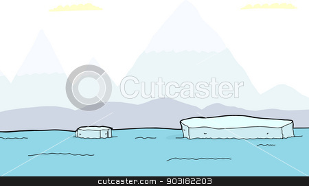 Floating Pieces of Iceberg stock vector.