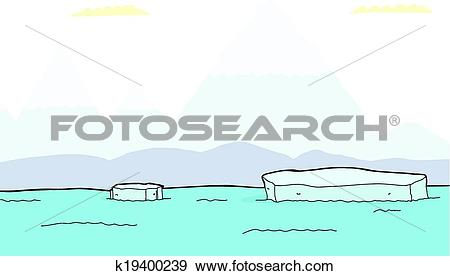 Clip Art of Floating Pieces of Iceberg k19400239.
