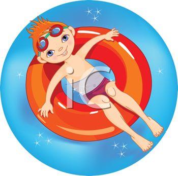 Little Red Haired Boy Floating in an Inner Tube on Summer Break.