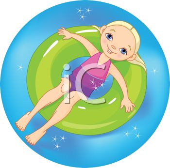 Royalty Free Clipart Image: Little Blond Girl Floating in an Inner.