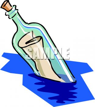 Message in a Bottle Floating in the Ocean.