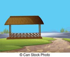 Vectors Illustration of A wooden floating cottage.